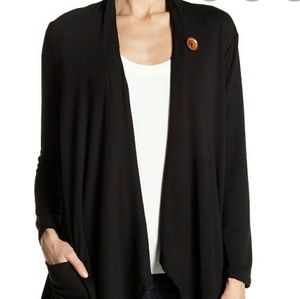 BOBEAU one button cardigan with pockets
